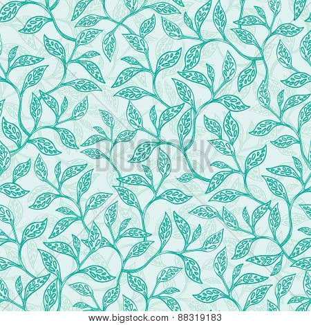 Vector green branches texture seamless pattern background
