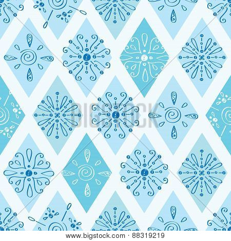 Vector abstract blue doodle rhombus seamless pattern background