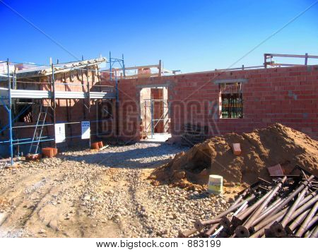 House In Construction In Italy