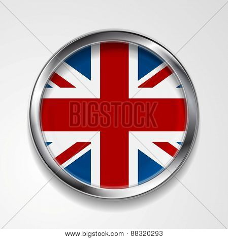 United Kingdom of Great Britain metal button flag. Vector design