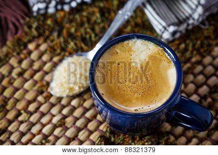 Blue Cup Of Espresso Coffee