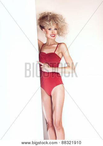 Sexy Blonde Woman With Empty Board.