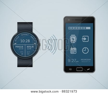 Synchronization between smartwatch and smartphone. Vector illustration of smartwatch and smartphone communication