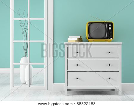 Part of interior with yellow TV 3D rendering