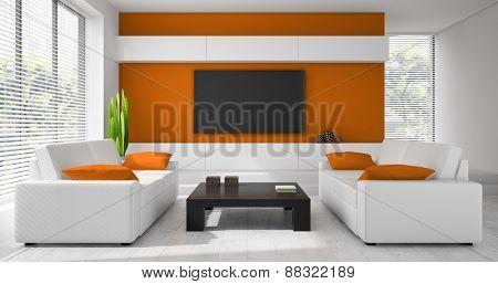 Interior of the modern design  room  3D rendering