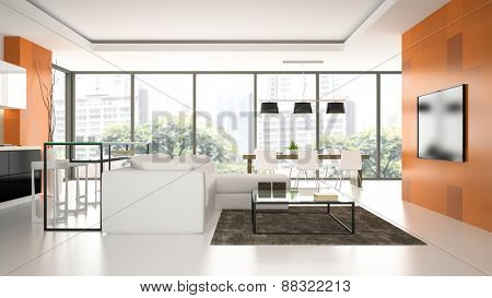 Interior of the modern design  loft  with orange wall 3D rendering