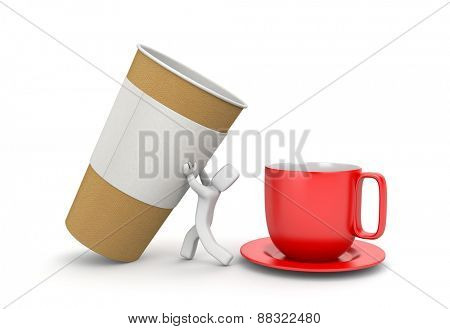 Man pouring coffee from a paper cup to the mug