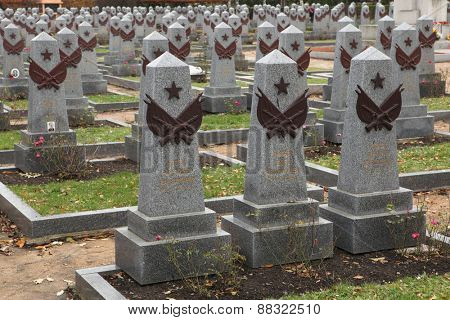 PRAGUE, CZECH REPUBLIC - NOVEMBER 9, 2012: Soviet War Memorial with graves of Soviet soldiers fallen in the last days of World War II at the Olsany Cemetery in Prague, Czech Republic.