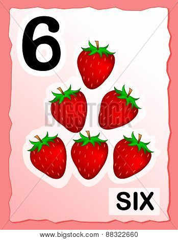 Number 6 Kids Learning Card