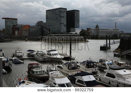 DUSSELDORF, GERMANY - AUGUST 6, 2012: Hafenspitze Building in the Hafen District in Dusseldorf, North Rhine-Westphalia, Germany.