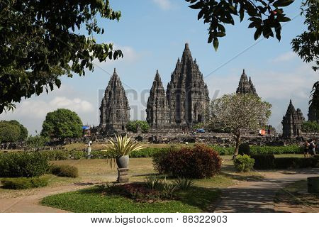 YOGYAKARTA, INDONESIA - AUGUST 4, 2011: Tourists visit the Prambanan Temple near Yogyakarta, Central Java, Indonesia.
