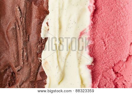 Neapolitan ice cream with chocolate and vanilla and strawberry ice cream