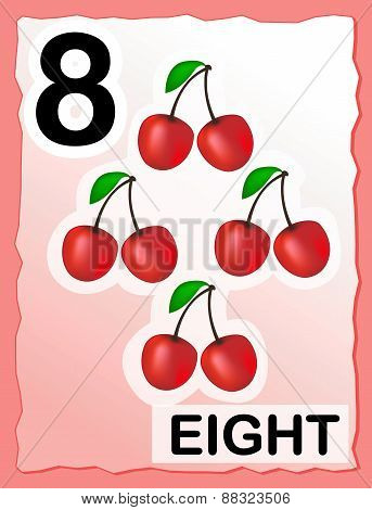 Number 8 Kids Learning Card