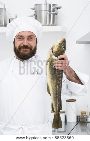 Chef with codfish