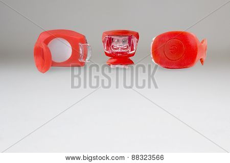 Rubberized Red Flashlight With Two Diodes