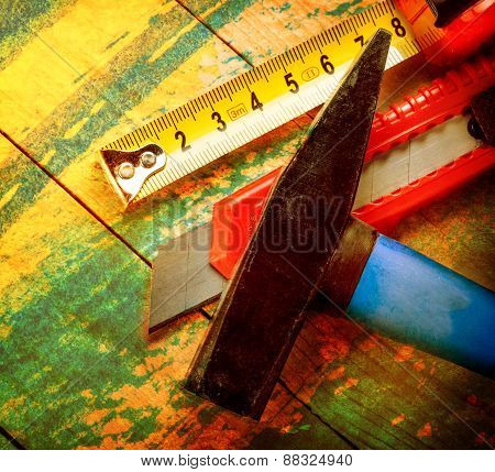 Tape Measure, Hammer And Knife