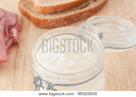 mayonnaise in glass jar