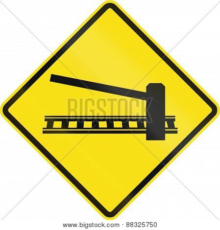 Railroad Crossing With Barrier In Chile