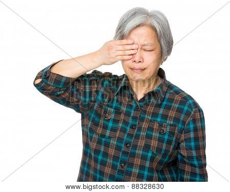 Old woman feel eye got pain