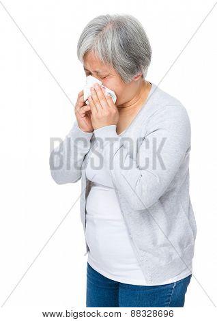 Mature woman got flu