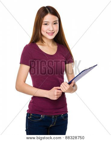 Young woman doing questionnaire