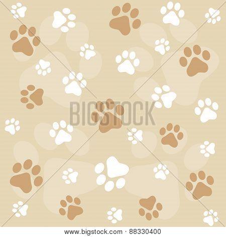 Brown Dog Paw Prints Seamless Pattern