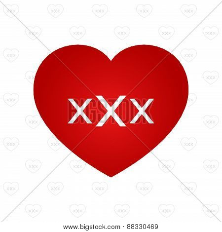 Xxx Sign On Heart Symbol With Pattern Background Vector Illustration