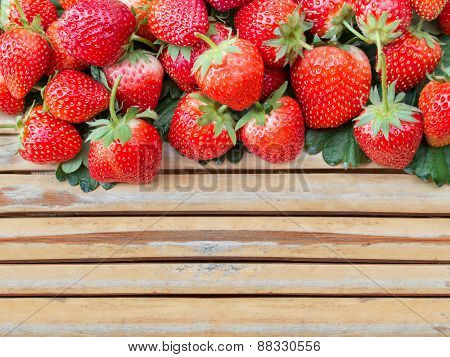 Fresh Strawberry On Green Leaf Bamboo Wood Panel