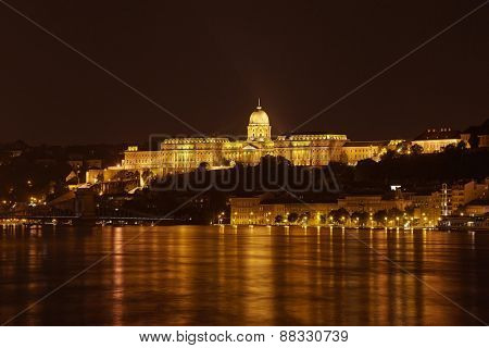 The Castle of Buda in Hungary, flooing river Danube
