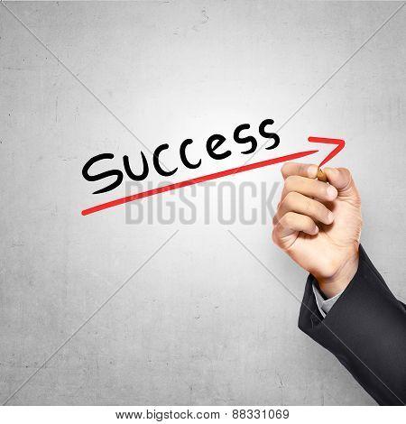 Man Writing Success Text