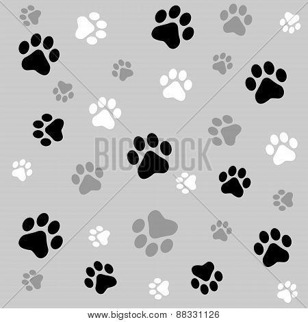 Paw Prints Seamless Background