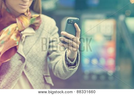 Womans Hand With Cell Phone
