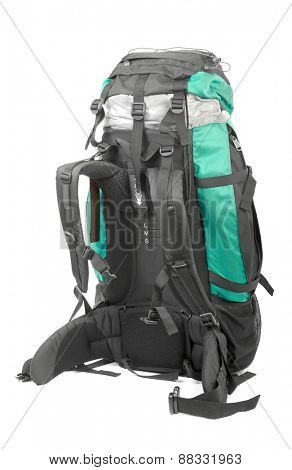 Large backpack on white background