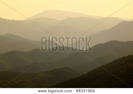 High mountain landscape in hazy weather, soft natural background.