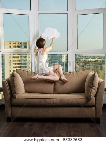 Girl With A Cloud In Her Hands