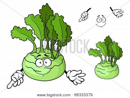 Cartoon smiling ripe kohlrabi vegetable cartoon character