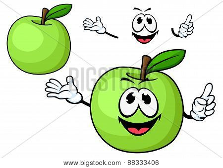 Cartoon juicy green apple fruit character