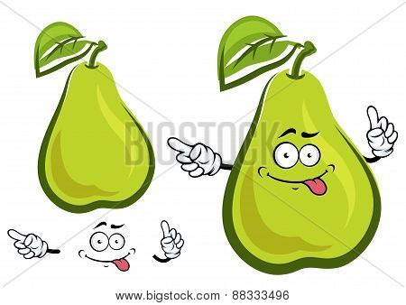 Funny green yellow pear fruit character