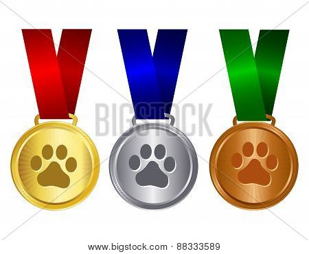 Dog Show Winner Medal Gold Silver Bronze