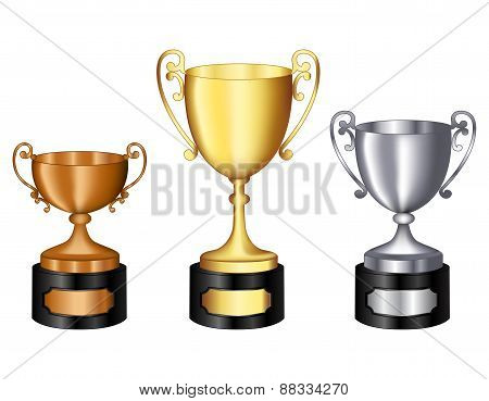 Trophy Gold Silver And Bronze