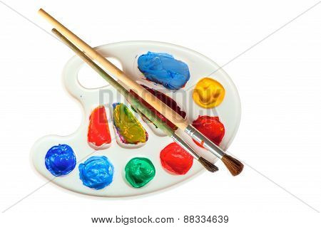 Palette With Brushes Isolated Closeup
