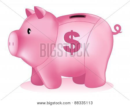 Isolated Piggy Bank Illustration