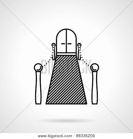 Entrance with carpet black line vector icon
