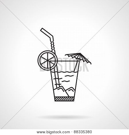 Cocktail black line vector icon