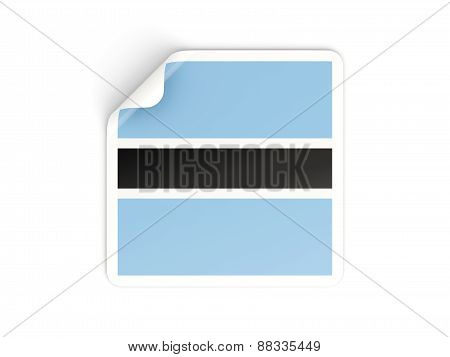 Square Sticker With Flag Of Botswana