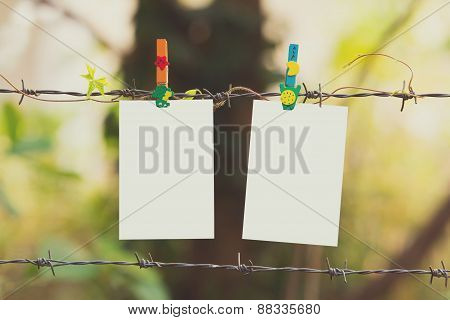 Photo Frames On Barbed Wire With Colored Clothespins,vintage Effect