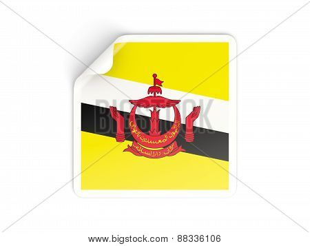 Square Sticker With Flag Of Brunei