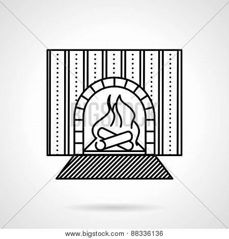 Fireplace black line vector icon