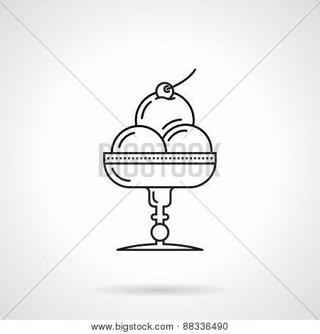 Ice cream dessert black line vector icon