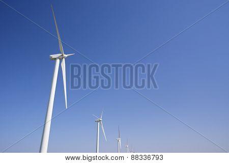 Windmills for electric power production, Pozuelo de Aragon, Zaragoza, Aragon, Spain.